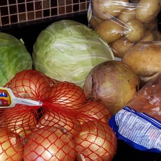 Veggies - Potatoes, onions, carrots, turnip and cabbage